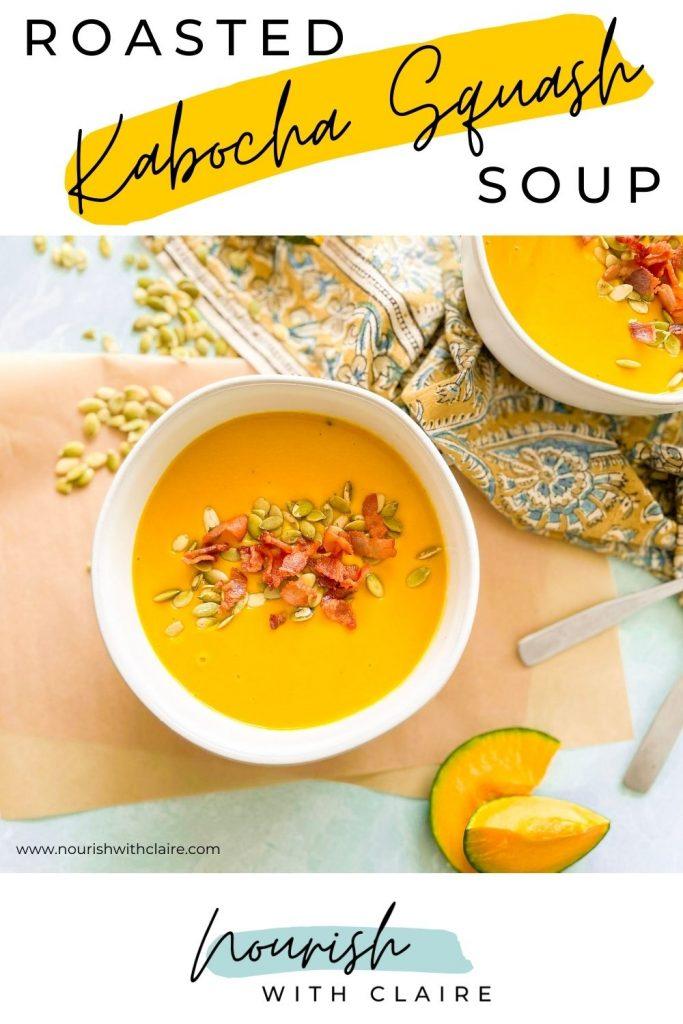 Roasted Kabocha Squash Soup Pinterest Image