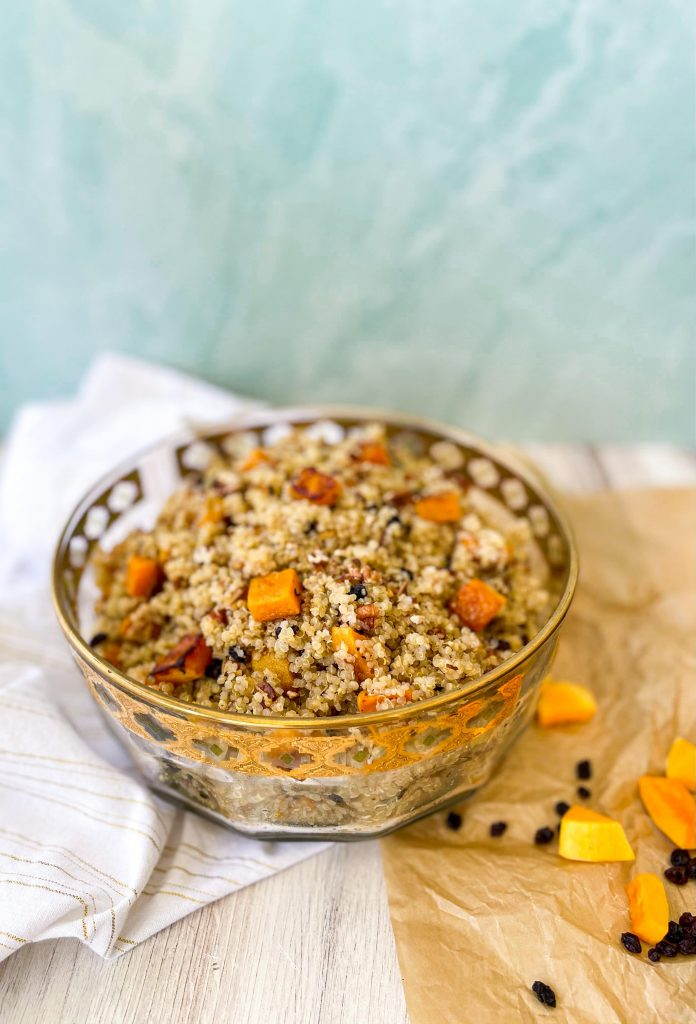 Fall Quinoa Salad in Fancy Serving Bowl