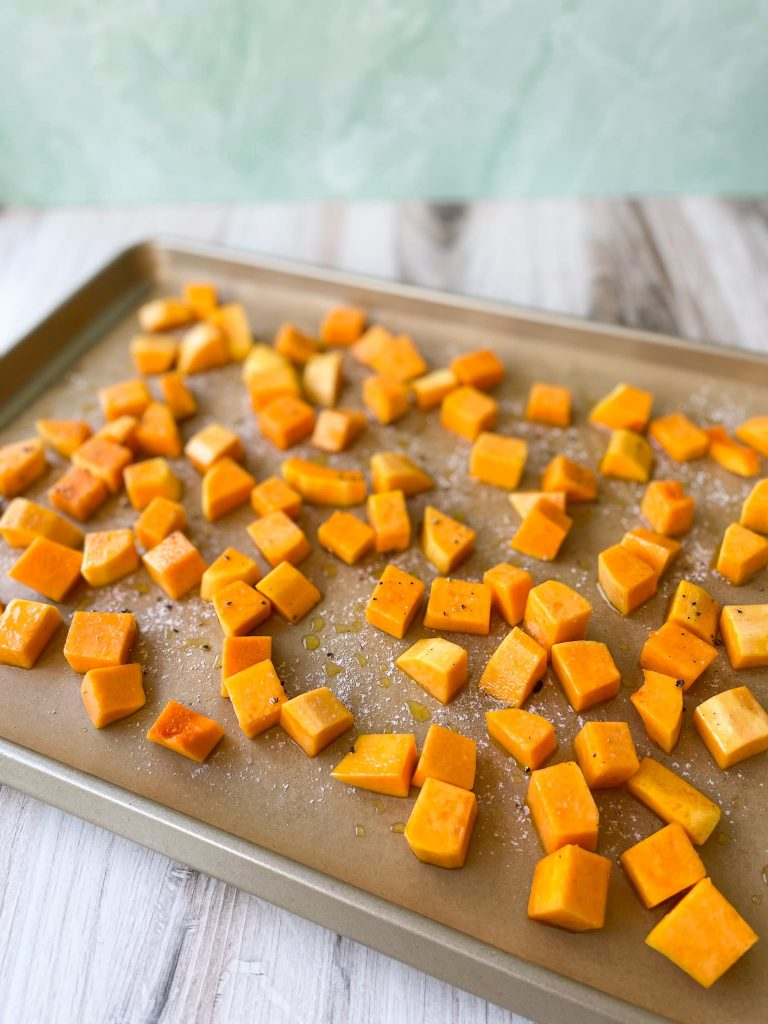 Prepped Butternut Squash on Baking Sheet